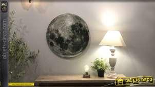 Grande lune murale vue au téléscope, plaque en verre à suspendre avec vraie photo de notre astre de nuit, Ø60cm
