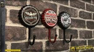 Série de trois crochets muraux en métal, formes d'anciennes capsules de bière, motifs moto motards, Ø11cm