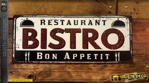 Plaque murale en métal à suspendre, enseigne rétro de restaurant bistrot finition oxydée, ambiance vintage des années 50, 50cm