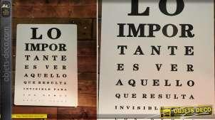 Plaque en métal murale esprit test acuité visuelle, version espagnole avec lettrage noir sur fond blanc, 33cm