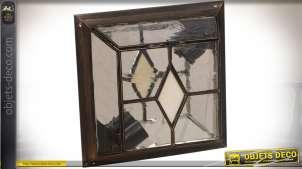 Grand plafonnier de style arabe en verre et métal motif losange