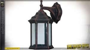 Lanterne extérieure aluminium applique murale finition brun vieilli 30 cm