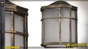 Applique murale lanterne vintage en aluminium doré vieilli et verre dépoli