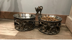 Gamelle pour (gros) chat en fer effet fonte finition brun ancien, 2 bols inox de 0,5L, 36cm