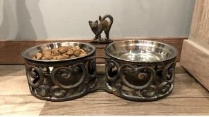 Gamelle pour chat en métal esprit fer forgé, volutes élégantes, 2 bols de 0,5L, 35cm