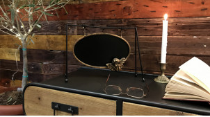 Tableau noir de forme ovale à poser sur table, suspendu avec ornementation angélique dorée, 31cm