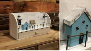 Trieur de table en bois pour enveleppes et papiers, ambiance port de pêcheur finition usée, 28cm