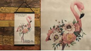 Toile murale représentant un flamand rose esprit ancienne encyclopédie, à dérouler et suspendre, 50cm