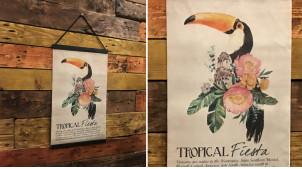 Représentation sur toile d'un toucan, ambiance vieille encyclopédie animalière, à suspendre, 50cm