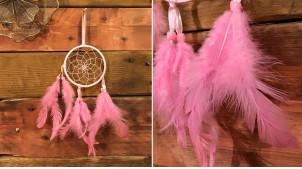 Attrappe-rêves en fil de coton et plumes Ø9cm, modèle rose bonbon fushia, 34cm