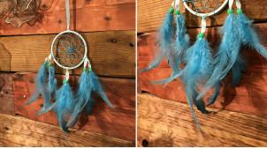 Attrappe-rêves en fil de coton et plumes Ø9cm, modèle bleu céleste, 34cm