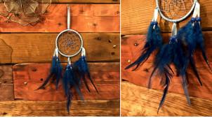 Attrappe-rêves en fil de coton et plumes Ø9cm, modèle bleu de minuit, 34cm