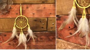 Attrappe-rêves en fil de coton et plumes Ø9cm, modèle jaune paille blé dur, 34cm