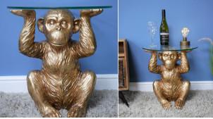 Table d'appoint en forme de singe, plateau épais en verre, finition doré ancien, ambiance circus, Ø45cm