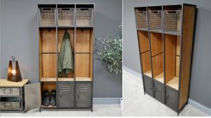 Meuble d'entrée esprit vieux vestiaire d'usine, en bois de sapin et métal finition anthracite, compartimenté, 164cm