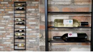 Rangement mural vertical pour 12 bouteilles de vin, en métal finition noir charbon, ambiance moderne épurée, 160cm
