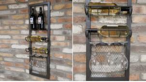 Support mural vertical pour bouteilles de vin et verres, en métal finition gris anthracite, ambiance moderne industrielle, 100cm