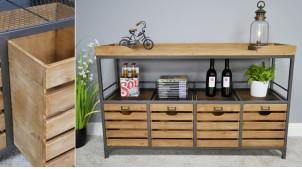 Meuble type console en bois de sapin et métal, ambiance industrielle atelier, plateau à rebords et 4 tiroirs ajourés, 130cm