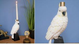 Chandelier décoratif en résine en forme de perroquet, finition blanc noir et notes dorées, ambiance chic, 27cm