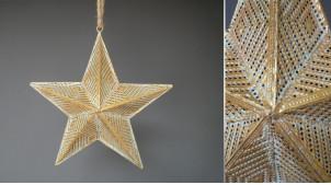 Décoration à suspendre en métal, finition dorée effet ancien, métal ajouré avec reflets bronze, Ø30cm