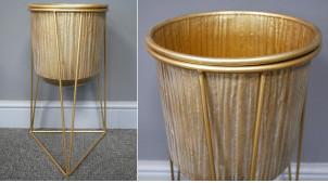 Jardinière en métal de style moderne, linéaire et élégante, finition dorée mate effet brossé, 49cm