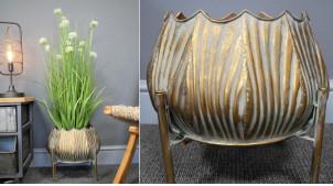 Cache pot sur pieds en métal en forme d'oignon, finition dorée effet vieilli pour pots de 25-28cm