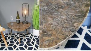 Table d'appoint en acier et marbre, finition anthracite cuivrée et plateau en pierre massive richement texturée, ambiance belles matières, Ø57cm