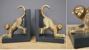 Paire de serre-livres en résine représentant deux singes en finition dorée brillante, ambiance safari noir et or, 20cm