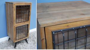 Meuble d'appoint en bois et métal, 2 portes vitrées et grillagées, ambiance clapier d'ancienne ferme, 88cm