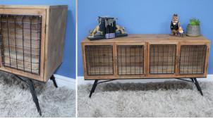 Meuble de salon type vaisselier bas en bois et métal, ambiance vieux clapier de ferme, portes grillagées et bois finition naturelle, 125cm