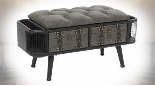 Banquette de rangement esprit malle antique, assise capitonnée finition grise, 79cm