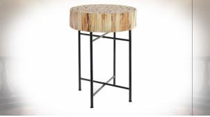 Table d'appoint esprit chalet, plateau en tronçons de bois finition naturelle, 63cm