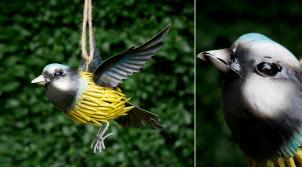 Oiseau en métal à suspendre, en métal finition jaune et bleu vieilli, ambiance champêtre, 17cm