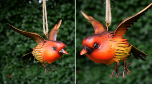 Oiseau en métal à suspendre, en métal finition rouge orangé, ambiance champêtre, 17cm
