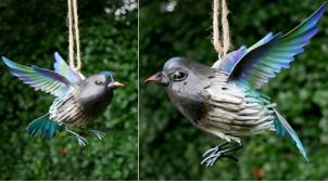 Oiseau en métal à suspendre, en métal finition bleu turquoise vert, ambiance champêtre, 17cm