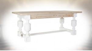 TABLE SAPIN MDF 200X90X78 VIEILLI BLANC