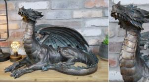 Grand dragon en résine finition bronze effet vieilli oxydé, ambiance donjons et dragons, 60cm de long