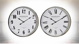 Série de deux horloges murales noir et blanc