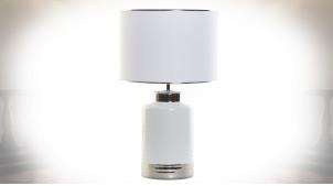 Lampe de table moderne en dolomite blanc laqué, 59cm
