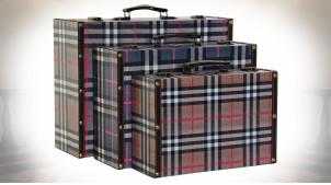 Série de 3 boites de rangement en forme de valise motif tartan, 40cm