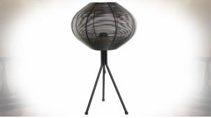 Lampe de table en métal ajouré finition noire de style moderne, 58cm