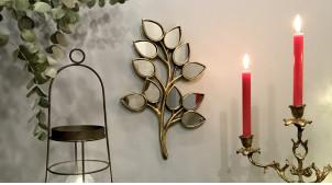 Branche murale en résine avec facettes miroitées, finition doré effet ancien, ambiance champêtre chic, 38cm