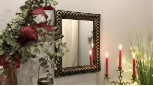 Miroir mural avec encadrement effet métal tressé, finition noir charbon et patine bronze brossé, ambiance cuivrée chic, 57cm