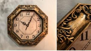 Horloge murale de forme octogonale, finition noir charbon et bronze cuivré, ambiance rétro vintage, Ø23cm