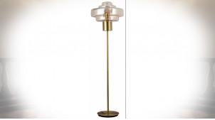 LAMPADAIRE VERRE MÉTAL 45X45X154 ORANGE