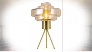 LAMPE DE TABLE VERRE MÉTAL 45X45X70 ORANGE