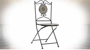 Chaise d'extérieur en mosaïque multicolore et métal noir style fer forgé, 90cm