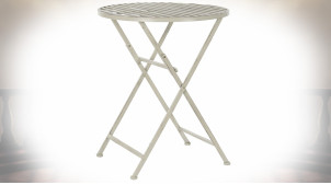 Table d'appoint de jardin pliable en métal finition blanc vieilli, 74cm