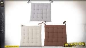 Série de six coussins de chaises en coton, avec capitons et nouettes 40 x 40 cm