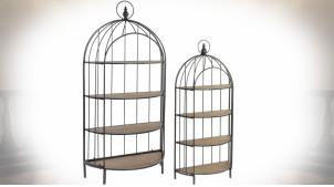 Série de deux étagères en forme de cage à oiseaux en demi-cercle finition brun clair et noire, 187cm